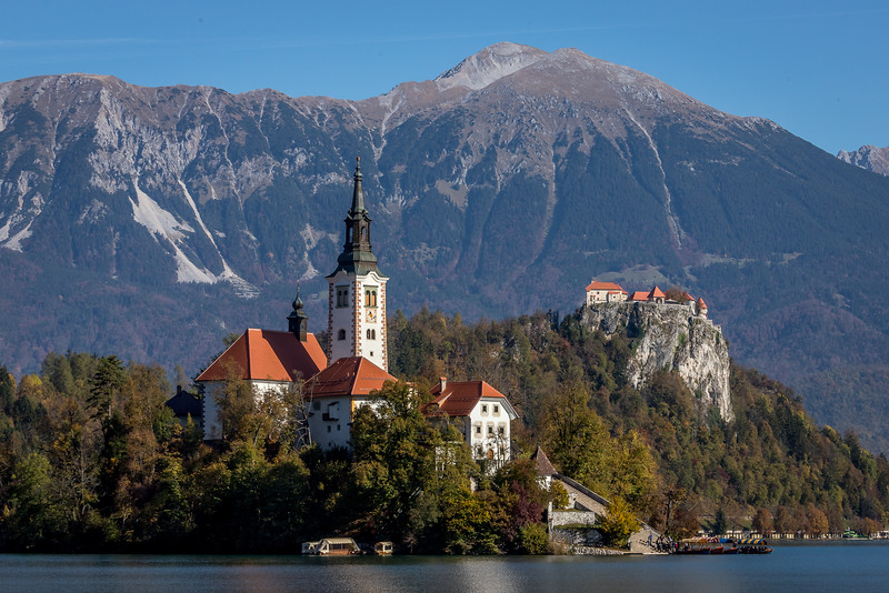 Marienkirche und Burg nahe der Stadt Bled