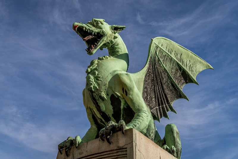 Spaziergang in Ljubliana: Ein Drachen bei der gleichnamigen Brücke