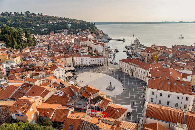 Spaziergang in Piran: Der Tartini-Platz, wohl einer der schönsten Plätze Sloweniens