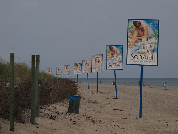 Well. why not? The Beach at Hel, signboards are prominent all around Poland. (Foto: Geir)