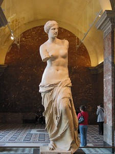 The marble statue known as the Aphrodite of Melos is one of the most recognizable works of art from the ancient world, also referred to as Venus de Milo.