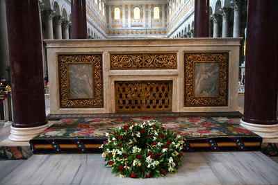 Paul's body is buried beneath the alter.  He was beheaded about two miles from here.