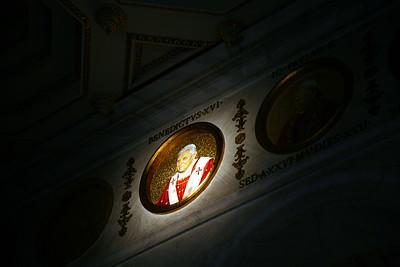 Benedict XVI amoung 265 mosaics of popes ringing the interior of St. Paul's Basilica