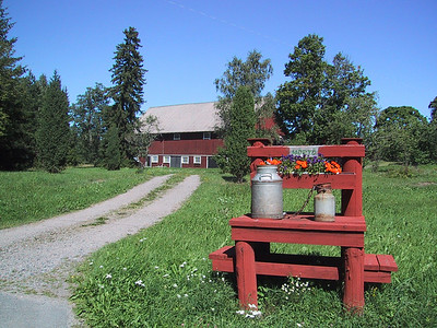 Farmhouse and mailbox in Herrang, Sweden.  3 weeks there for swing dance camp.
