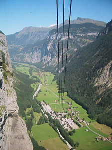 Cable car view down to Stechelberg, Switzerland