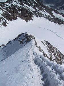 Ridge line section of Monch Expedition, Swiss Alps.