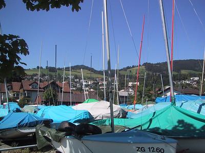 Lake Agerisse town thru masts, Luzern.