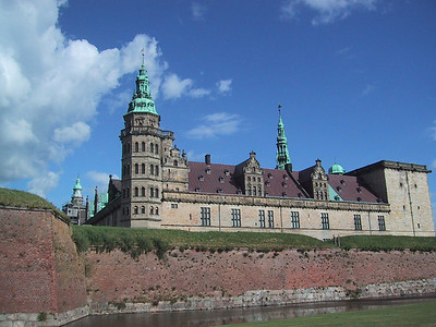 Kronburg Castle in Helsingor, Denmark, as viewed from the Louisiana Museum.  Saw a performance of Hamlet inside the castle courtyard!