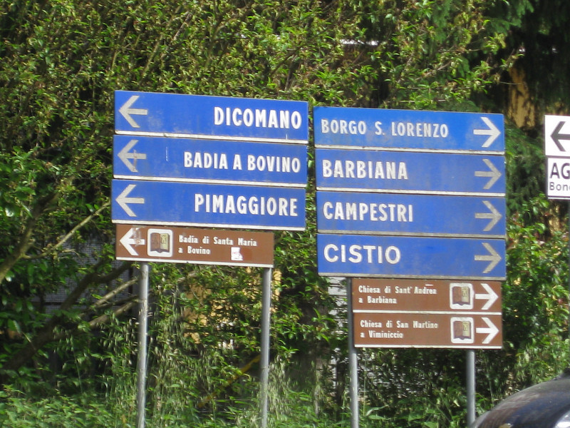 Signs outside Vicchio.
