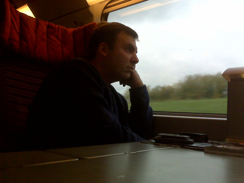 This was actually taken on the way back to London from Paris. Mike is sad to leave Europe.