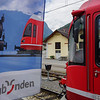 Bernina Express. Italy to Switzerland over the alps. The centenary flag and our train