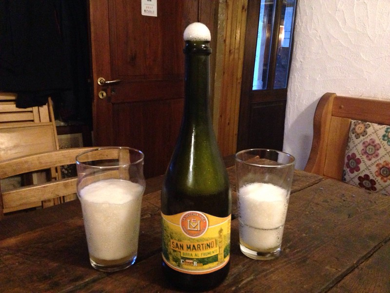 We arrived in Ceresole Reale and relaxed in our hotel restaurant and shared a local bottle of very foamy local beer!