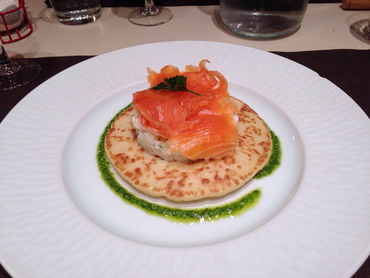 18/09/2017<br /> Dinner!! I had a fancy salmon entre on a bed of mini potato salad an light, fluffy pancake.