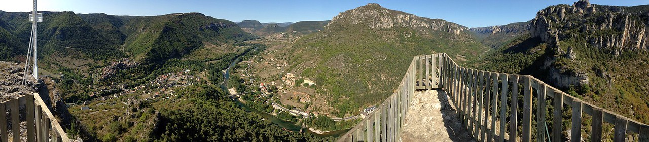 The view from Capluc, complete with giant cross and dodgy looking railings.
