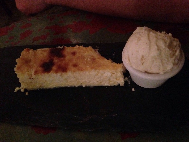 Neil ate his main before I could take a photo. So here's one of his desert: cheesecake apparently. Tasted like eggy ricotta bake. The ginger icecream it came with was delicious!