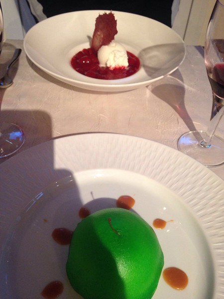 And finally desert. We decided to skip the cheese tasting plate this time and go straight for desert. Neil had apple dome with caramel and I had a raspberry jelly with vanilla ice cream and panacotta.