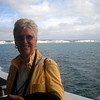 Mom - with the Cliffs of Dover in the background.  We are crossing the English Channel on our way to France.