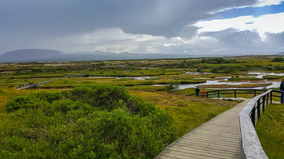Pingvellir (pronounced 'Thingvellir') at the distraction rift zone between the American and Europeon techtonic plates.