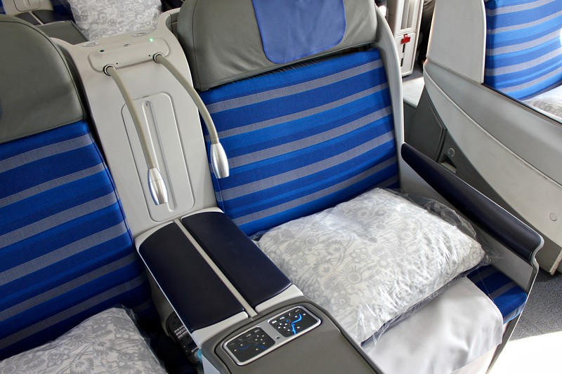 seat in LOT Polish Airlines business class