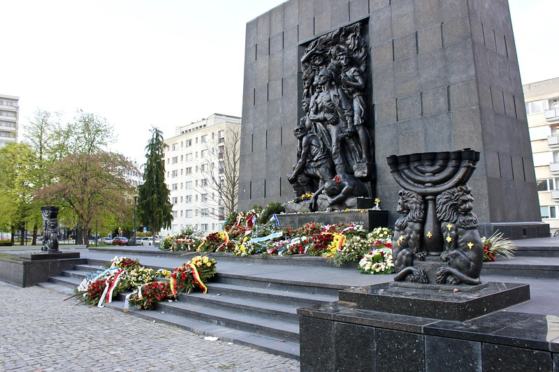 the Ghetto Heroes Monument in Warsaw, Poland
