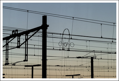 Sitting in the train waiting for it to depart for Frankfurt, I couldn't help but notice these artistic overhead cables.
