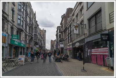 The main shopping street.  We saw lots of shops selling waffles and others selling Belgium fried potatoes.