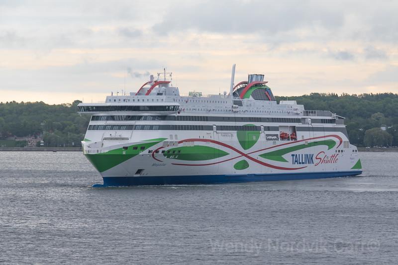 Tallink Shuttle departs Tallinn Estonia harbour