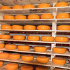 Wheels of cheese displayed in Holland
