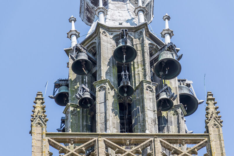The historic 16th century tower and bells and clock of The Great Church, Our Dear Lady Edam