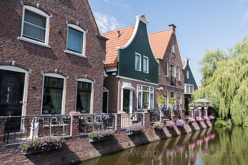 The historic streets and canals of the charming town of Volendam in the Dutch countryside