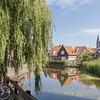 The historic streets of the charming town of Volendam in the Dutch countryside