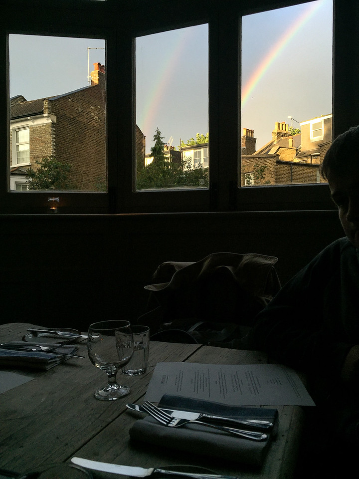 Dinner with Annabelle & Garry came with a double-rainbow