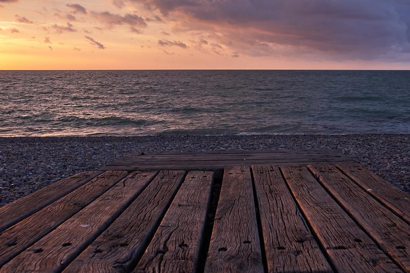 Beach boards in last light