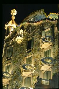 Casa Batllo facade (3) -- night