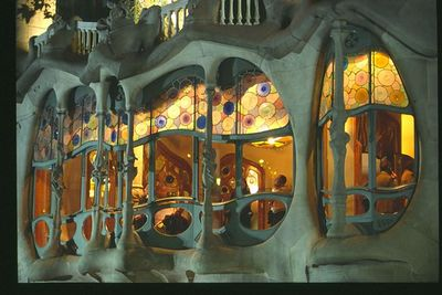 Casa Batllo facade (2) -- night