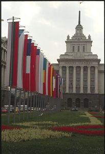 President's Building and NATO flags - Sofia