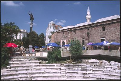 Plovdiv Square - statue of Alexander the Great, mosque and Roman arena