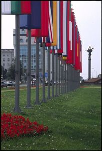 NATO flags and Sveta Sofia statue
