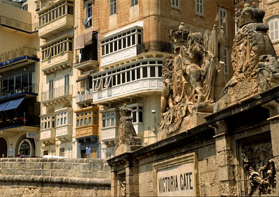 Victoria Gate with hotels behind, Valletta