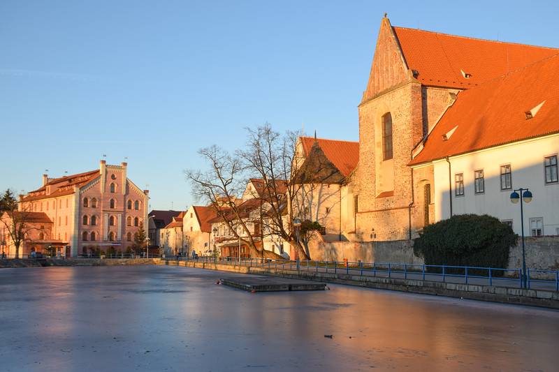 Frozen pond in the city center