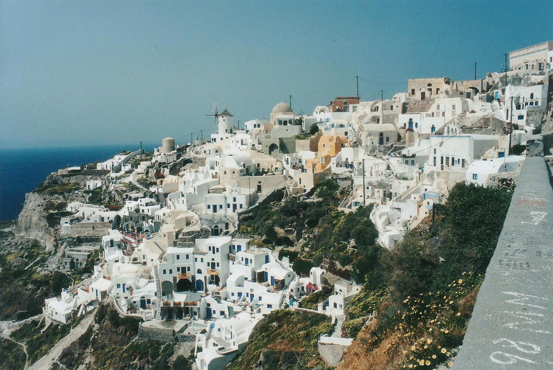 view from Sun Rocks Hotel, 1999, Santorini Greece