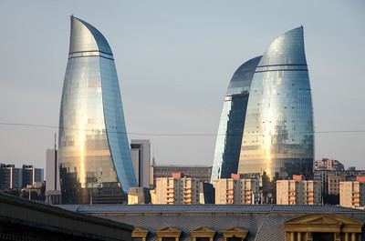 The flame towers in Baku...taken from the hostel...