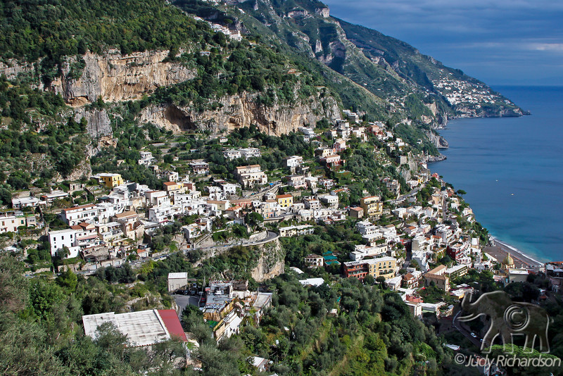Positano with houses hugging the cliffs along the Amalfi coast of Italy
