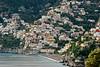 Main part of Positano with Amalfi coast bridge in upper left corner