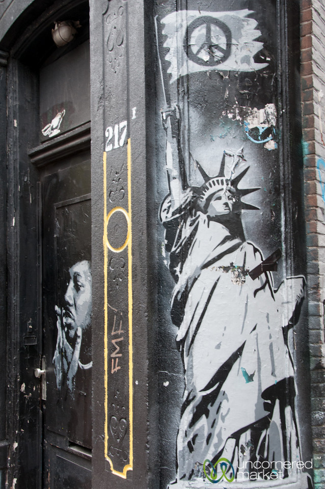 Amsterdam Street Art - Statue of Liberty with Peace Sign