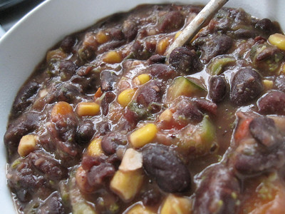 Yummy homemade chili while house-sitting for friends in Amsterdam