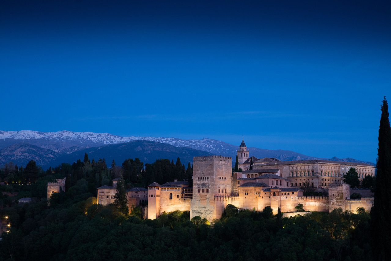 The Alhambra in Granada at sunset is the classic introduction to Andalucia