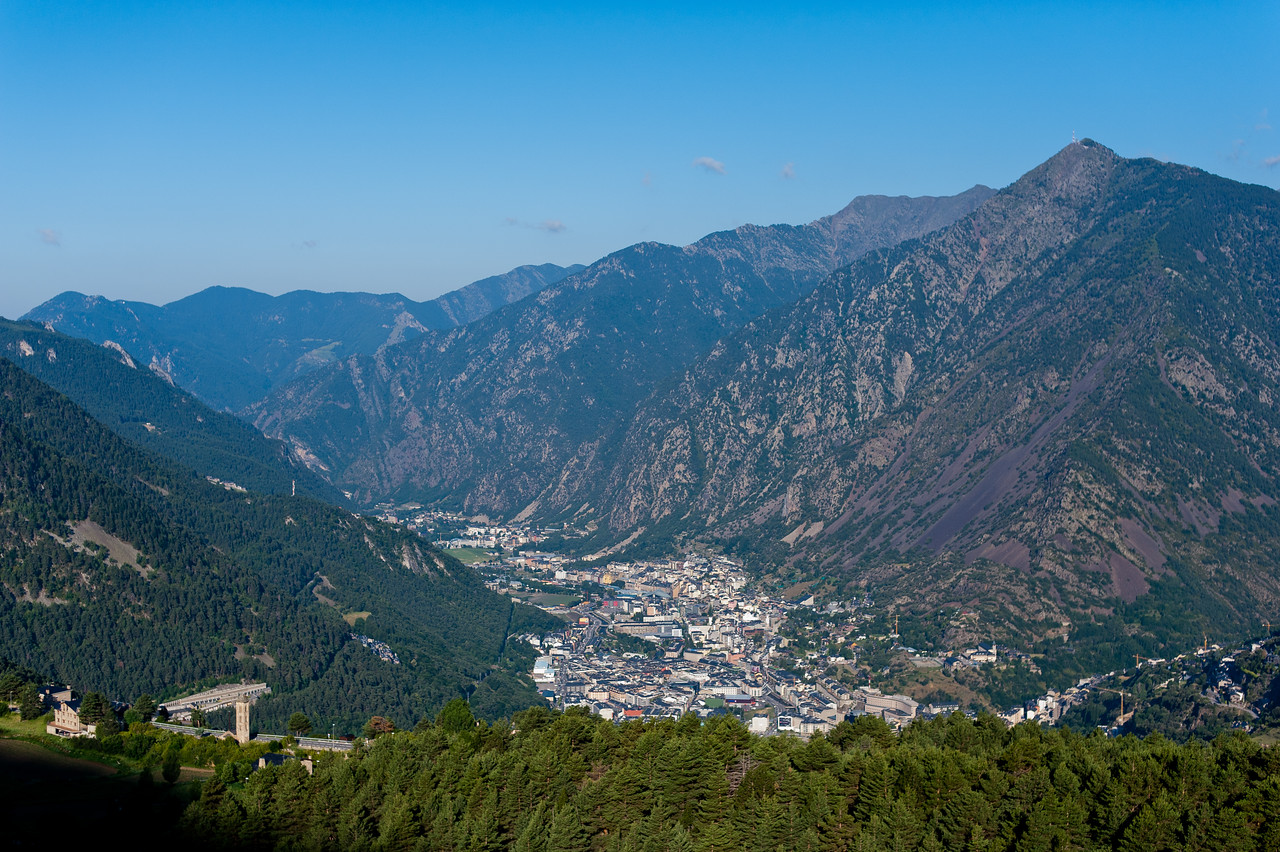 Looking down at dense houses on a valley in Andorra
