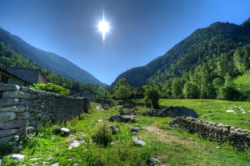 Beautiful sunlight in between two mountains in Andorra