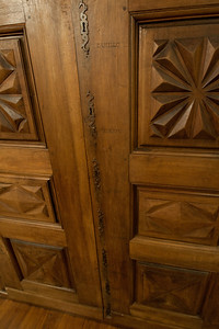 Elaborate door carvings inside Casa de la Vall in Andorra